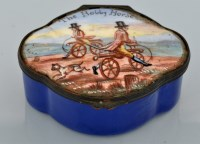 Lot 286-A Bilston enamel patch box, shaped oval, the...
