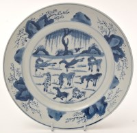 Lot 557 - Chinese blue and white dish, with 'Eight...
