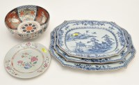 Lot 558 - Set of three Chinese blue and white dishes,...