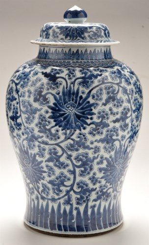 Lot 559 - Large Chinese blue and white inverted baluster...