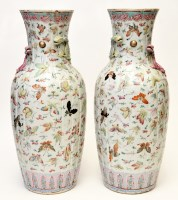 Lot 565 - Large pair of Chinese famille rose 'Insect'...