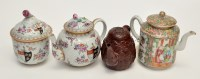 Lot 573 - Chinese famille rose 'Canton' teapot and cover,...