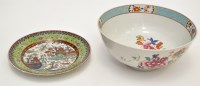 Lot 577 - Chinese Famille Rose punch bowl, interior with...
