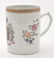 Lot 579 - Famille Rose porcelain tankard, cylindrical...