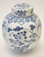 Lot 580 - Chinese blue and white ovoid vase, sides with...
