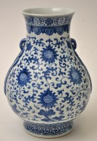 Lot 591 - Chinese blue and white baluster vase, with...