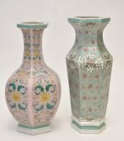 Lot 594 - Two Chinese enamel ground vases, of hexagonal...