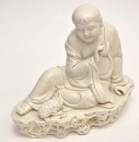 Lot 596 - Chinese 'Dehua' figure of Budha Maitreya,...
