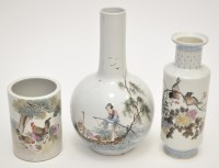Lot 599 - Two Chinese Famille Rose vases and a Bitong,...