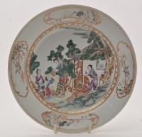 Lot 602 - Chinese famille rose dish, with figures...