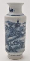 Lot 608 - Chinese blue and white cylinder shaped vase,...
