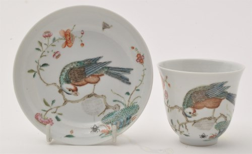 Lot 609-Chinese famille rose tea bowl and saucer, with...