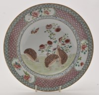 Lot 611 - Chinese famille rose 'Quail' soup bowl,...