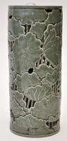 Lot 613 - Chinese carved monochrome green glaze vase, of...
