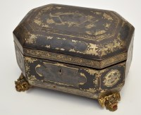 Lot 622 - Chinese black lacquer Canton tea caddy,...