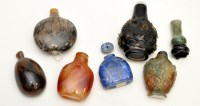Lot 624 - Seven Chinese snuff bottles and stoppers, in...