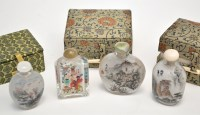 Lot 625 - Four Chinese interior painted glass snuff...