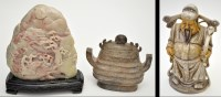 Lot 627 - Chinese hardstone boulder, carved with figures...