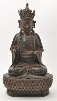 Lot 629 - Lacquered bronze figure of a Buddhist deity,...