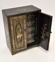 Lot 639 - Chinese black lacquered 'Canton' table cabinet,...
