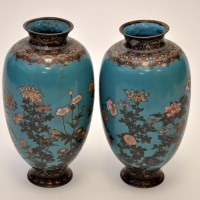 Lot 645 - Pair of Japanese cloisonne vases, each with...