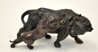 Lot 647 - Japanese patinated bronze group of a tiger...