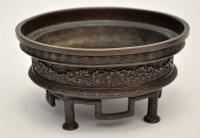 Lot 648 - Japanese bronze Koro, stepped rim with key...