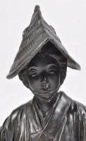 Lot 650 - Pair of Japanese bronze okimono figures of...