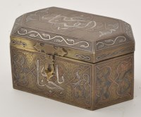 Lot 651 - 'Silver Metal' and copper inlaid brass casket...