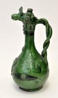 Lot 652 - Turkish Canakkale green glaze ewer, of bottle...