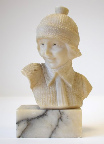 Lot 756-A early 20th Century carved alabaster bust,...