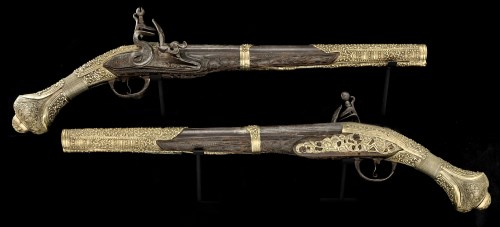 Lot 782-A fine pair of early 19th Century Turkish 18-bore ...