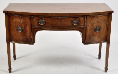 Lot 994-A George III mahogany bowfront sideboard, fitted...