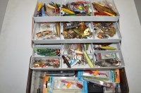 Lot 28-Large Plano tackle box full of lures for salmon...