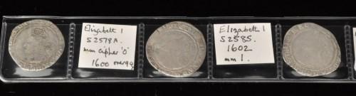 Lot 54-Three Elizabeth I sixpences, 1600, m.m. Cipher,...