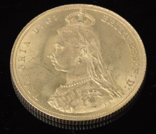 Lot 93-Queen Victoria gold sovereign, 1887, Jubilee Bust,...