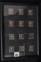 Lot 122-GB 1840 1d. blacks, all BG with four margins,...