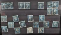 Lot 148-GB 1841, 1d. blues, various cancels, including:...