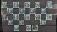 Lot 149-GB 1841, 1d. blues, all with four margins,...