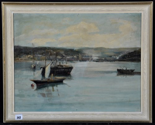 Lot 242-20th Century British School - a steam yacht and a ...