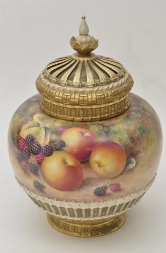 Lot 151-Royal Worcester vase, liner and cover, signed '...