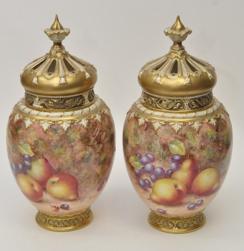 Lot 153-Pair Royal Worcester vases, liners and covers,...