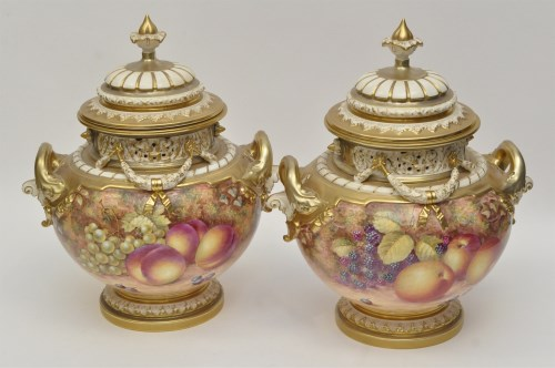 Lot 156-Pair of Royal Worcester vases and covers, signed '...