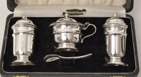 Lot 425 - A George V silver condiment set, by Viners...