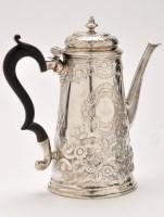 Lot 444 - A George II silver coffee pot, maker's mark...