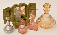 Lot 477 - An early 20th Century amber cut glass scent...