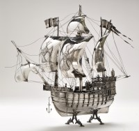Lot 480 - A Spanish silver model of a three-masted neff...