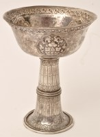 Lot 483 - A Tibetan silver offering cup, 19th Century,...