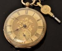 Lot 494 - A 14k open-faced pocket watch, with gilt roman...
