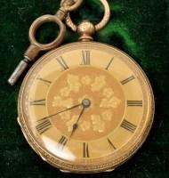 Lot 501 - A late 19th Century Swiss 18k open faced key...